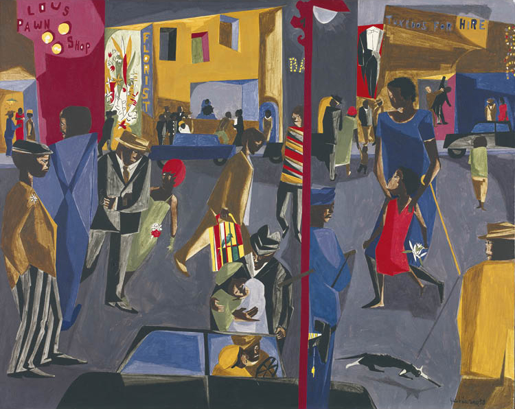 Jacob Lawrence (American, 1917–2000). Fulton and Nostrand, 1958. Tempera on Masonite, 60.9 x 76.2 cm. Mr. and Mrs. William H. Marlatt Fund 2007.158