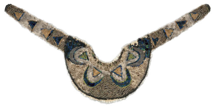 Pelerine (Collar or Cape), about 1830–60? Artist unknown, Great Lakes/St. Lawrence River Area. Embroidery; feathers, cotton. Gift of the Textile Art Alliance in honor of their 60th Anniversary 1996.14