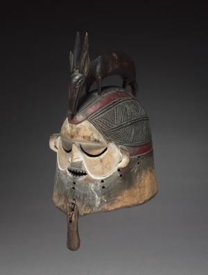 Helmet Mask, late 1800s–early 1900s. Democratic Republic of the Congo, Suku people. Wood, basketry reed, metal; h. 51 cm. René and Odette Delenne Collection, Leonard C. Hanna Jr. Fund 2010.450.