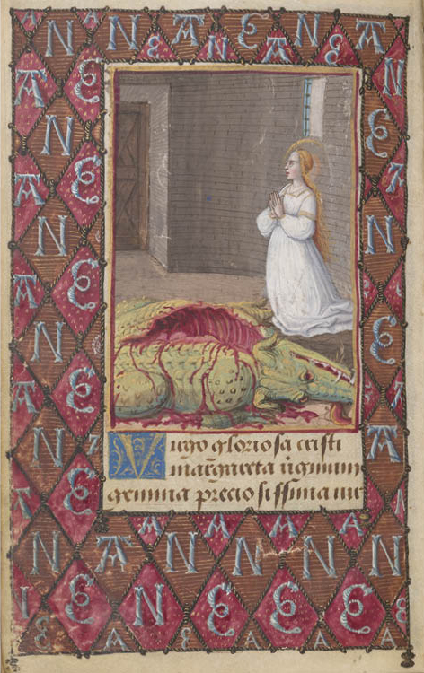 Saint Margaret in Prison with the Dragon from the Prayer Book of Anne de Bretagne, in Latin and French, c. 1492–95. Jean Poyer. The Morgan Library & Museum, New York, Purchased by Pierpont Morgan (1837–1913), 1905, MS M.50 (fol. 20v)