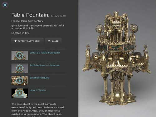 Table Fountain, c. 1320–1340. France, Paris. Gilt-silver and translucent enamels, 25.4 x 26.0 cm. Gift of J.H. Wade 1924.859