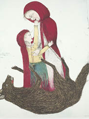 Born (detail), 2002. Kiki Smith (American, b. 1954). Color lithograph; 172.9 x 142.5 cm. The Cleveland Museum of Art, Gift of Agnes Gund and Daniel Shapiro 2004.34.