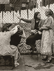"""Group in Front of Fence, Pitt Street, Lower East Side, NY"" Walter Rosenblum. CMA, 2017.83"