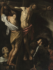 The Crucifixion of Saint Andrew (detail), 1606–7. Michelangelo Merisi da Caravaggio (Italian, 1573–1610). Oil on canvas; 202.5 x 152.7 cm.  Leonard C. Hanna Jr. Fund 1976.2