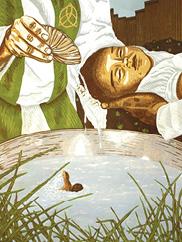 """J. Leigh Garcia, """"Fueron Bautizados,"""" woodcut, 22 x15 in., 2020"""