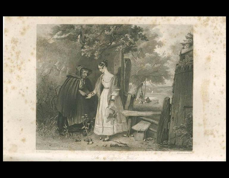 """""""The Fourtune Teller,"""" engraved for Godey's Lady's Book by S. Jones Pinxt and Alfred Jones Sc., illustrates another short story by Mrs. Hale. Godey's Lady's Book, XXV, 61. (August 1842). Philadelphia: Louis A. Godey. Presented by Severance A. Milliken, call number: A20 G582, 1842-1844"""
