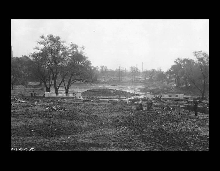 Fine Arts Garden during construction. Cleveland Museum or Art. Archives. Records of the Fine Arts Garden.