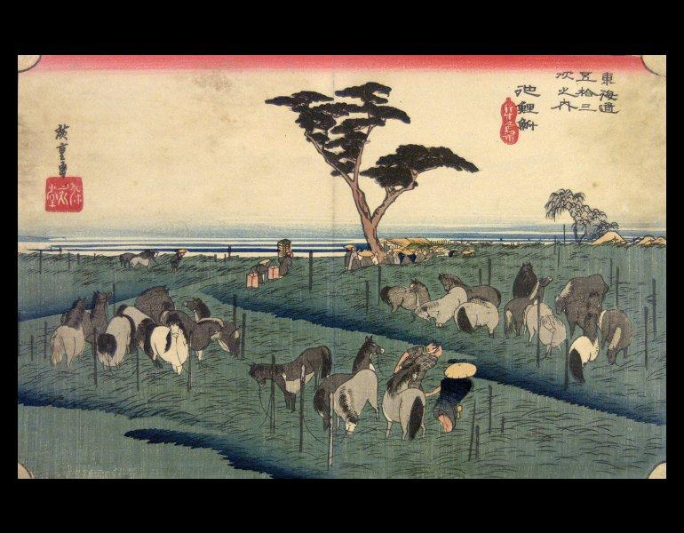Plate 50, Chiryu, Horse Fair in Early Summer. Here Hiroshige recreates a scene that he likely did not see, due to the timeline of his journey on the Tokaido.