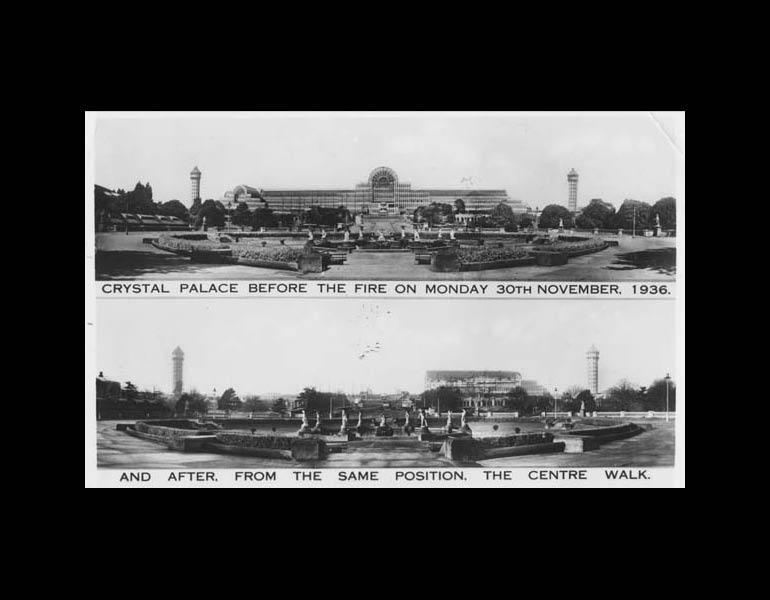 Postcard: Crystal Palace before the fire on Monday, 30th November, 1936, and after from the same position. The Center Walk.