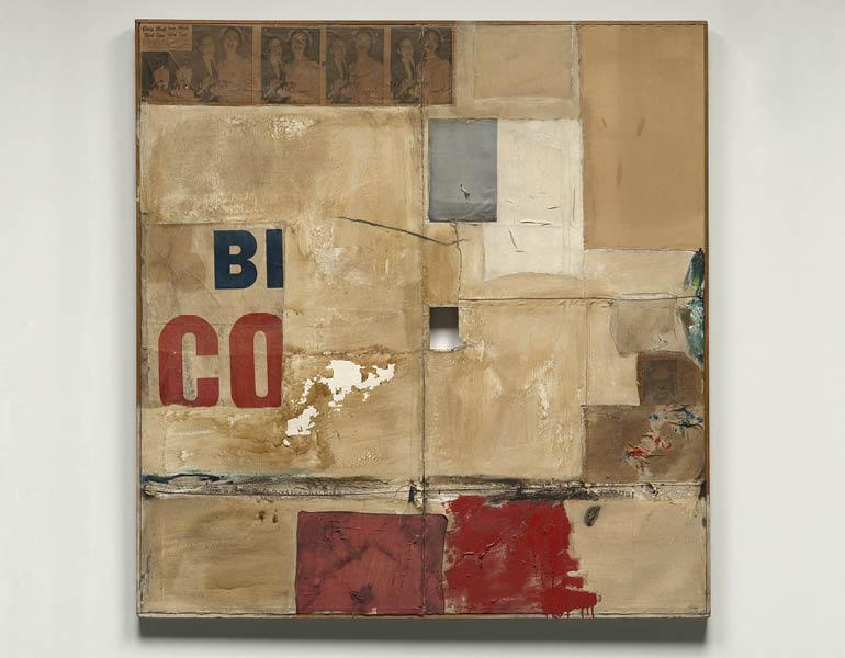 Gloria, 1956. Robert Rauschenberg (American, 1925–2008). Oil, paper, fabric, newspaper, printed paper, and printed reproductions on canvas; 168.2 x 160.6 cm. Gift of the Cleveland Society for Contemporary Art 1966.333. © Robert Rauschenberg Foundation/Lic