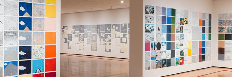 Rhapsody (detail, installation view), 1975–76. Jennifer Bartlett (American, b. 1941). Enamel on steel plates; 228.6 x 4,663.4 cm. The Museum of Modern Art, New York. Gift of Edward R. Broida, 2005. © 2014 Jennifer Bartlett. Photo: The Cleveland Museum of