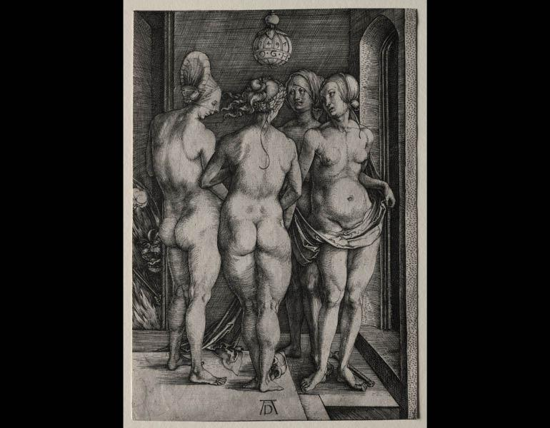 Four Naked Women, 1497. Albrecht Dürer (German, 1471–1528). Engraving; 19 x 13 cm. Gift of Howard E. Wise in memory of his parents, Samuel D. and May W. Wise by exchange 1990.85