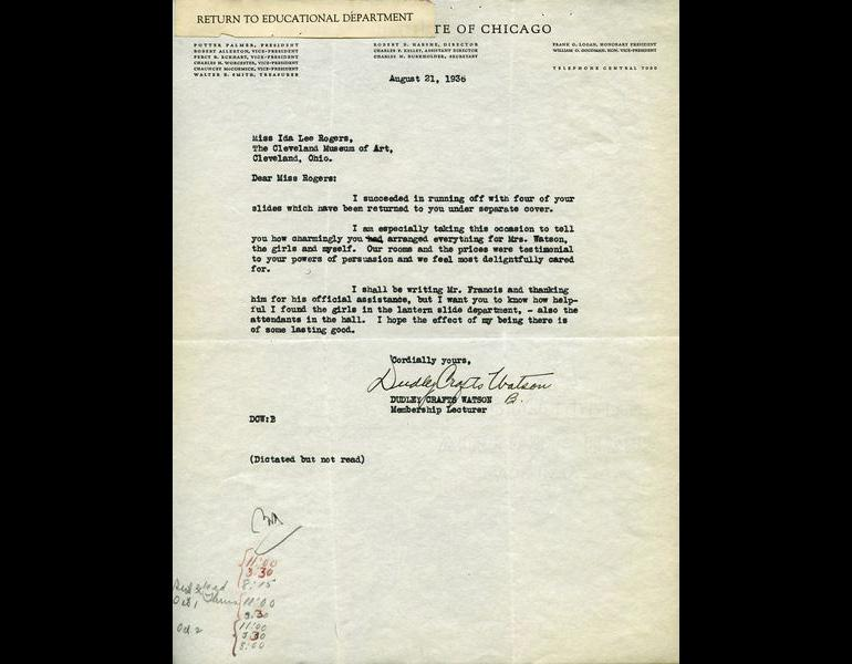 Letter from Art Institute of Chicago, August 21, 1936.