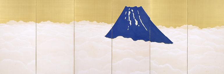 Mount Fuji Rising above Clouds (detail), c. 1913. Yokoyama Taikan (Japanese, 1868–1958). Pair of six-fold screens, color on gold-leafed silk; 187.2 × 416.3 cm. Tokyo National Museum (A-10533)