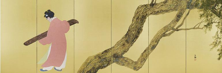 Chinese Poet Tao Yuanming (detail), 1912 (Meiji 45). Yokoyama Taikan (1868–1958). Pair of six-fold screens, color on gold-leafed paper; 171.2 x 309 cm (each screen). Tokyo National Museum, A-10531