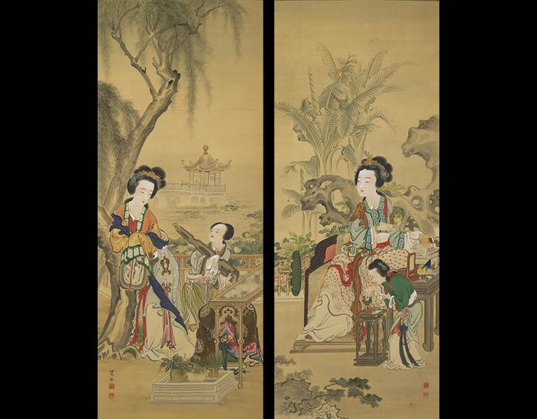 Yang Guifei Reading and Xishi Playing Chinese Harp, 1886 (Meiji 19). Araki Kanpo (1831–1915). Pair of hanging scrolls, color on silk; 142 x 56.4 cm (each scroll). Tokyo National Museum, A-12066
