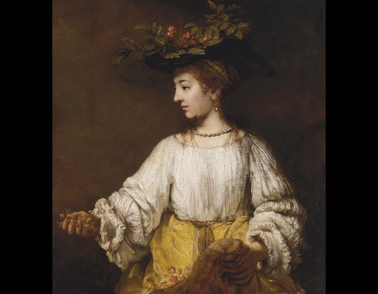 Flora, about 1654. Rembrandt van Rijn (Dutch, 1606–1669). Oil on canvas; 100 x 91.8 cm. The Metropolitan Museum of Art, New York, Gift of Archer M. Huntington, in memory of his father, Collis Potter Huntington 26.101.10. Photo: Malcolm Varon. Image © The Metropolitan Museum of Art/Art Resource, NY