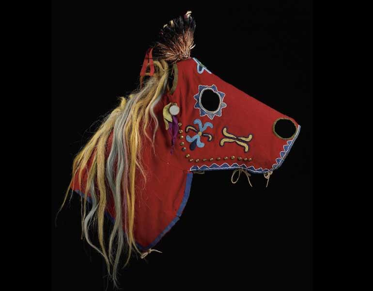 Horse Mask, about 1875–1900. Nimi'ipuu (Nez Perce) or possibly Cayuse, Idaho, Oregon, or east Washington. Thaw Collection, Fenimore Art Museum, Cooperstown, N.Y., T0097. Photograph by John Bigelow Taylor.