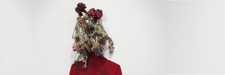 Sister (detail), 2011. Anicka Yi (Korean, b. 1971). Tempura-fried flowers, cotton turtleneck; dimensions variable. Collection Jay Gorney and Tom Heman, New York. Photo: Joerg Lohse.