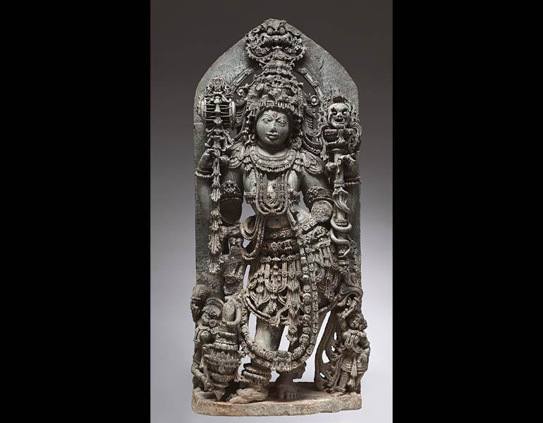 Shiva Bhairava, 1200s. India, Karnataka, Mysore. Chloritic schist; 116.6 x 49.23 cm. The Cleveland Museum of Art, John L. Severance Fund 1964.369.