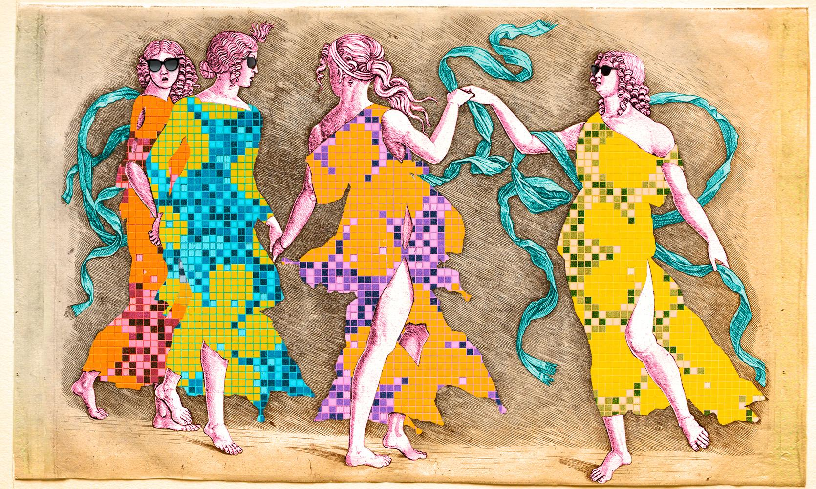 digital art featuring dancing figures from the museum's collection