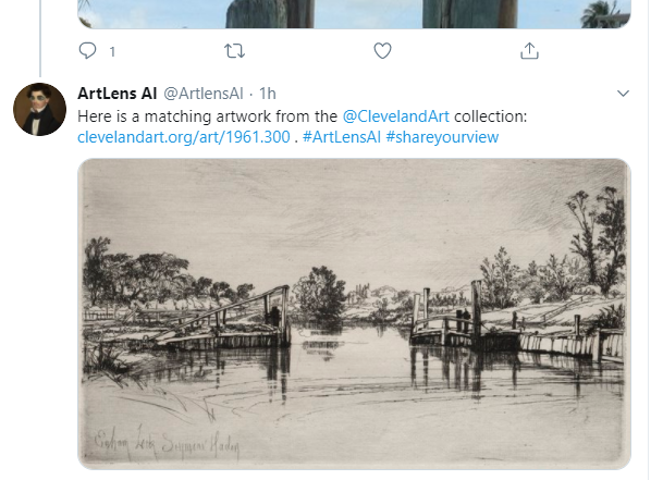 screenshot of twitter post from @ArtLensAI with image attached. tweet reads: Here's a matching artwork from @clevelandart collection